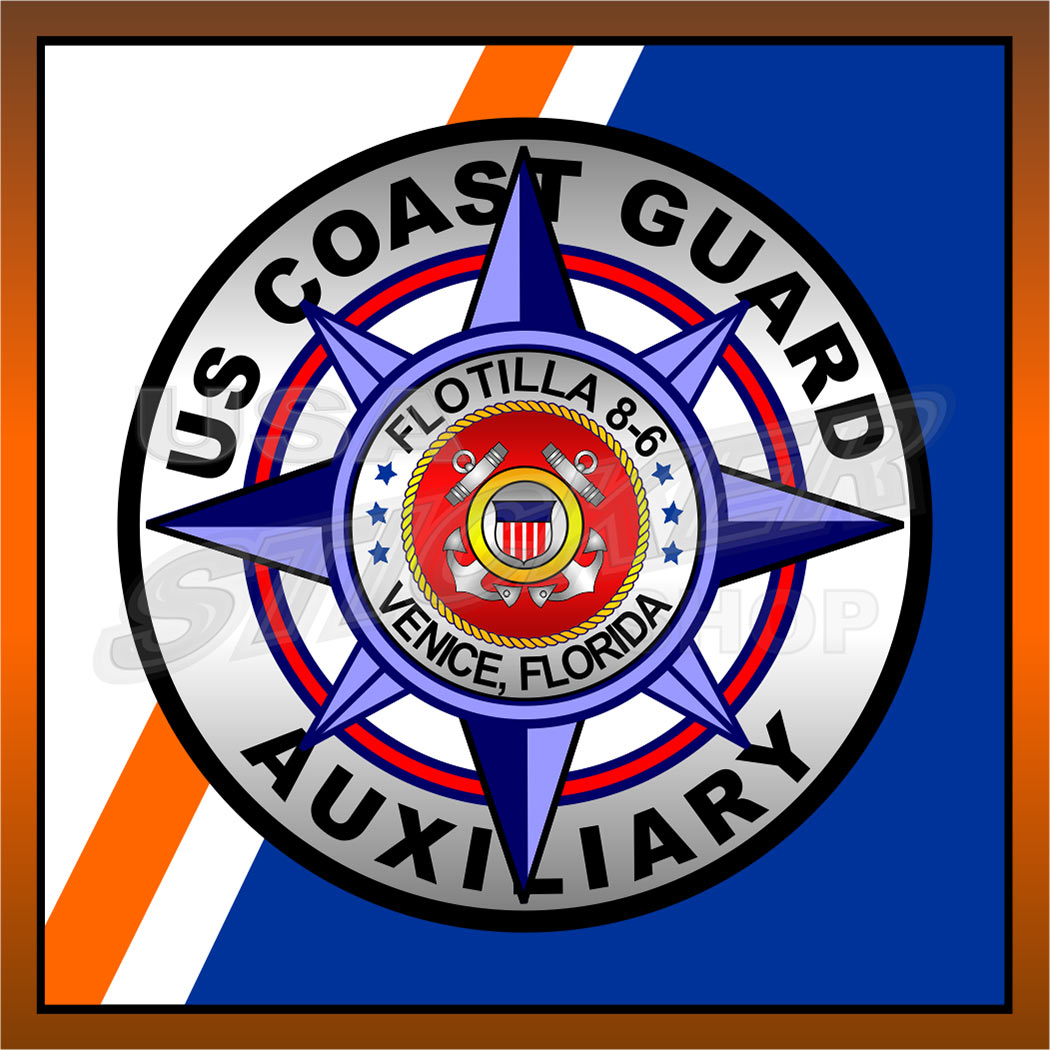 United States Coast Guard Auxiliary Flag Decal Sticker