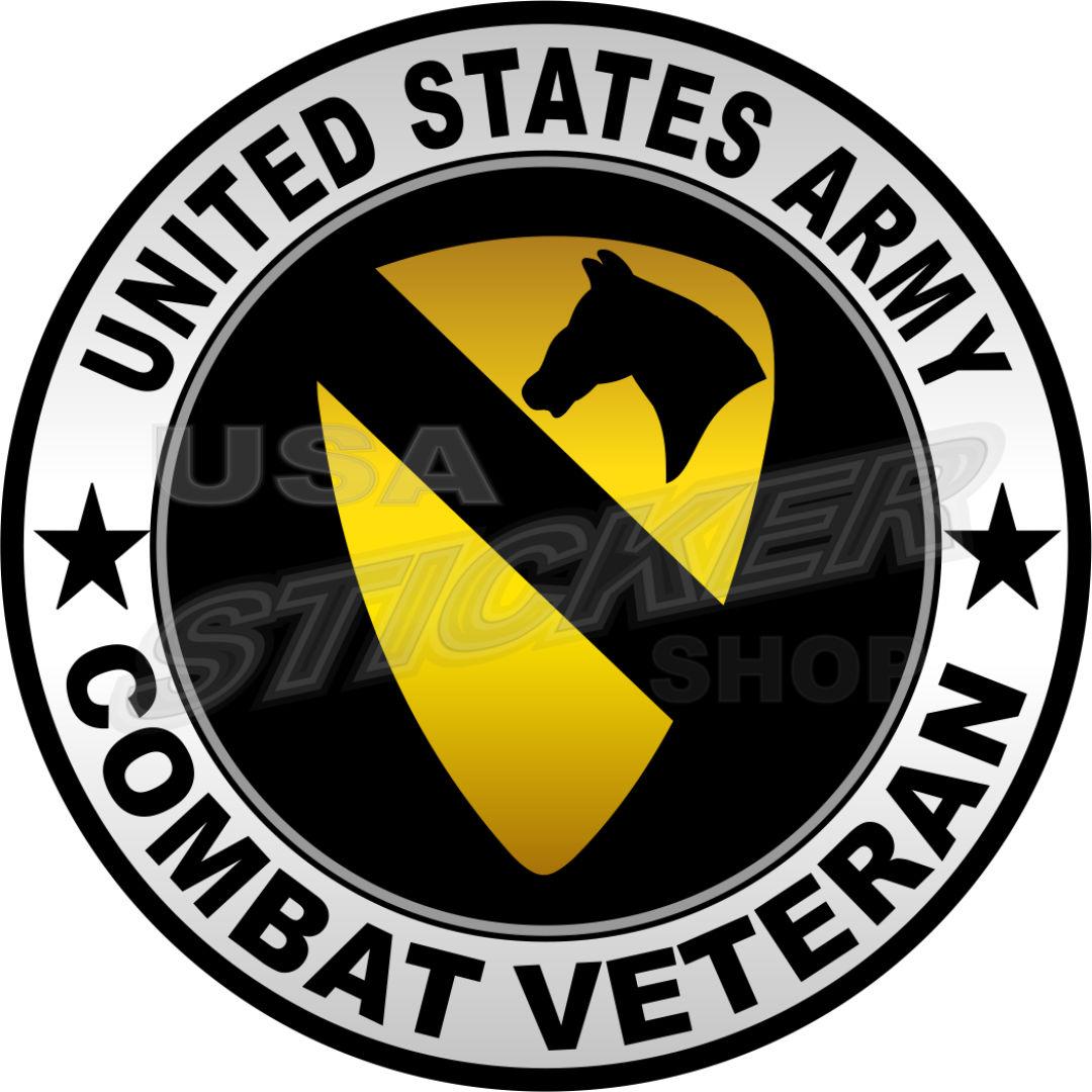 U S Army 1st Cavalry Combat Veteran Patch Sticker Round